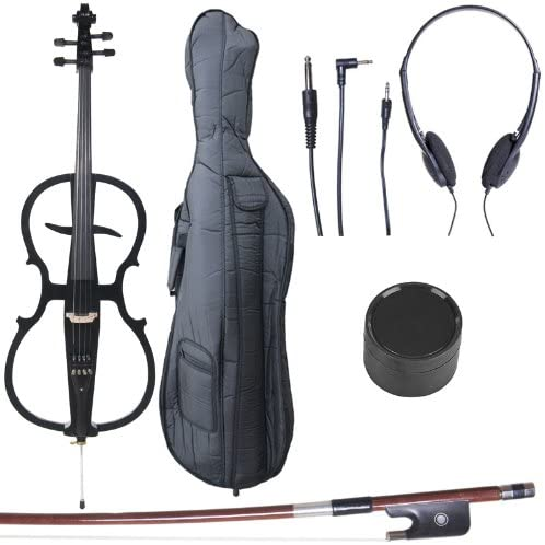 Cecilio 4/4 CECO-1BK Black Metallic Electric Cello with Ebony Fittings in Style 1 (Full Size)