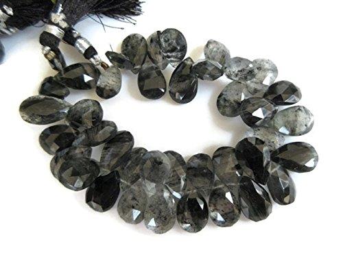 (Huge 14mm To 16mm Natural Rutile Quartz Pear Shaped Briolettes Beads, Black Rutilated Quartz Beads,GDS947 (8 Inch, 38pcs))