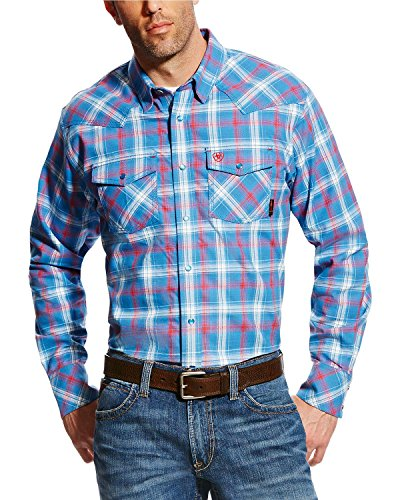 Ariat Men's Men's Big and Tall Flame Resistant Retro Work Shirt, Manning Multi Colored, Large