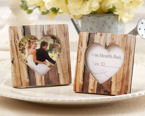 50 ''Rustic Romance'' Faux-Wood Heart Place Card Holders/Photo Frames by Kateaspen (Image #3)