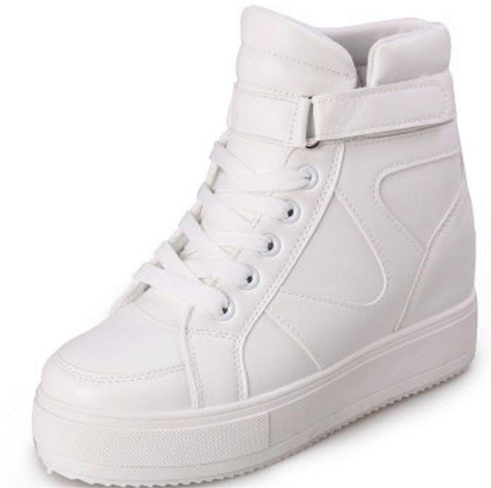 a0af1b451a05e SATUKI Women's High Top Wedge Fashion Sneakers Hidden Heel Platform Casual  Shoes (6.5, White)