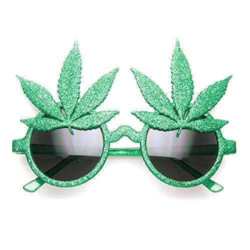 zeroUV - Marijuana Leaf Ganja Bud Pot Weed Fun Novelty Party Sunglasses - Sunglasses Leaf Pot
