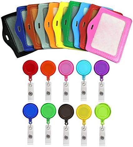 UCLEVER 10 Stück Kartenhalter Ausweis Ausweishalter Retractable Badge Reels mit Ausweishülsen ID Card Holder Sleeves für Karten und Schlüssel