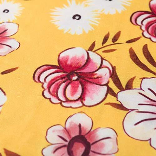 Longitud de 3 Impresa Manga la la Rodilla Mujer Fiesta Cuello V 4 Ocasional Manga del Amarillo en de Flojo Vestido Profundo de Vestido ABsolute wqXOa7X