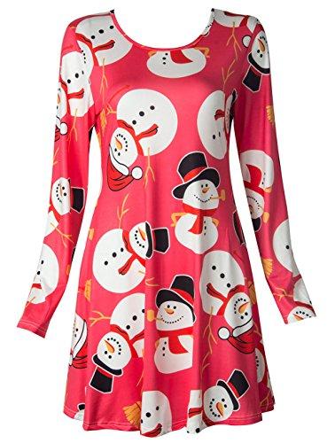 Campanas de de la Vestido Pan Oscilación Santa de Top Scothen Impreso E de Olaf Fiesta abullonado Jengibre Novedad Regalos de Mujer Festivo de largas Coctel Vestido Vestido Mangas para Navidad 8xqwZp0
