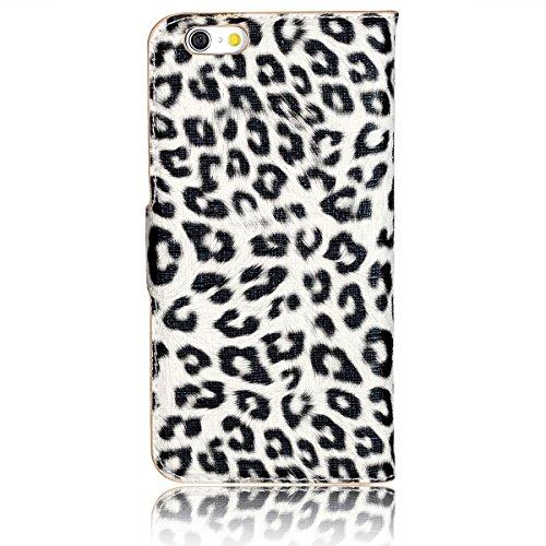 """JewelryWe Luxus Leopard PU Leder Handy Flip Case Schutzhülle Tasche Klapp Hülle Etui Cover für Apple iPhone 6(4,7""""), Farbe Schwarz Weiss Braun"""