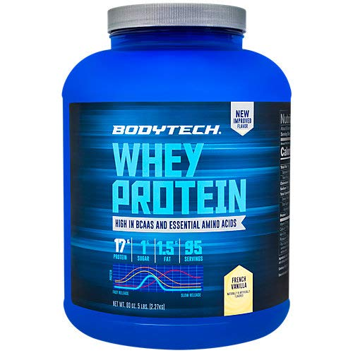 BodyTech Whey Protein Powder with 17 Grams of Protein per Serving Amino Acids Ideal for PostWorkout Muscle Building, Contains Milk Soy Vanilla 5 Pound