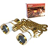 HQRP 3 x 25 Opera Glasses Binocular White pearl with Gold Trim, Crystal Clear Optic (CCO), Necklace Chain in HQRP Gift Box