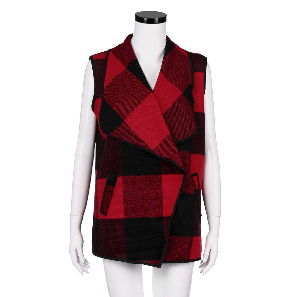 DIOMOR Womens Casual Lapel Open Front Plaid Vest Cardigan Coat with Pockets Christmas Classic Plaid Sleeveless Tops