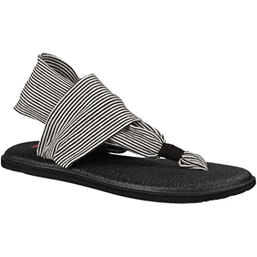 Sanuk Kids Yoga Sling Burst Flip Flop ,Black/White Stripes,5
