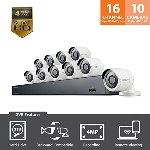 SDH-C85100BF – Samsung 16 Channel 4 MP Security System with 2TB Hard Drive, 10 Super HD Bullet Cameras, and 82′ Night Vision