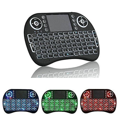 [3 Colors Backlit] 2.4G Mini Wireless Keyboard Mouse for Samsung LG Smart TV Android TV Box Remote Control Backlight Built-in Rechargeable Battery Keyboard Mouse Combos Support Raspberry Pi, Tablet, PS4, PS3, XBOX and PC