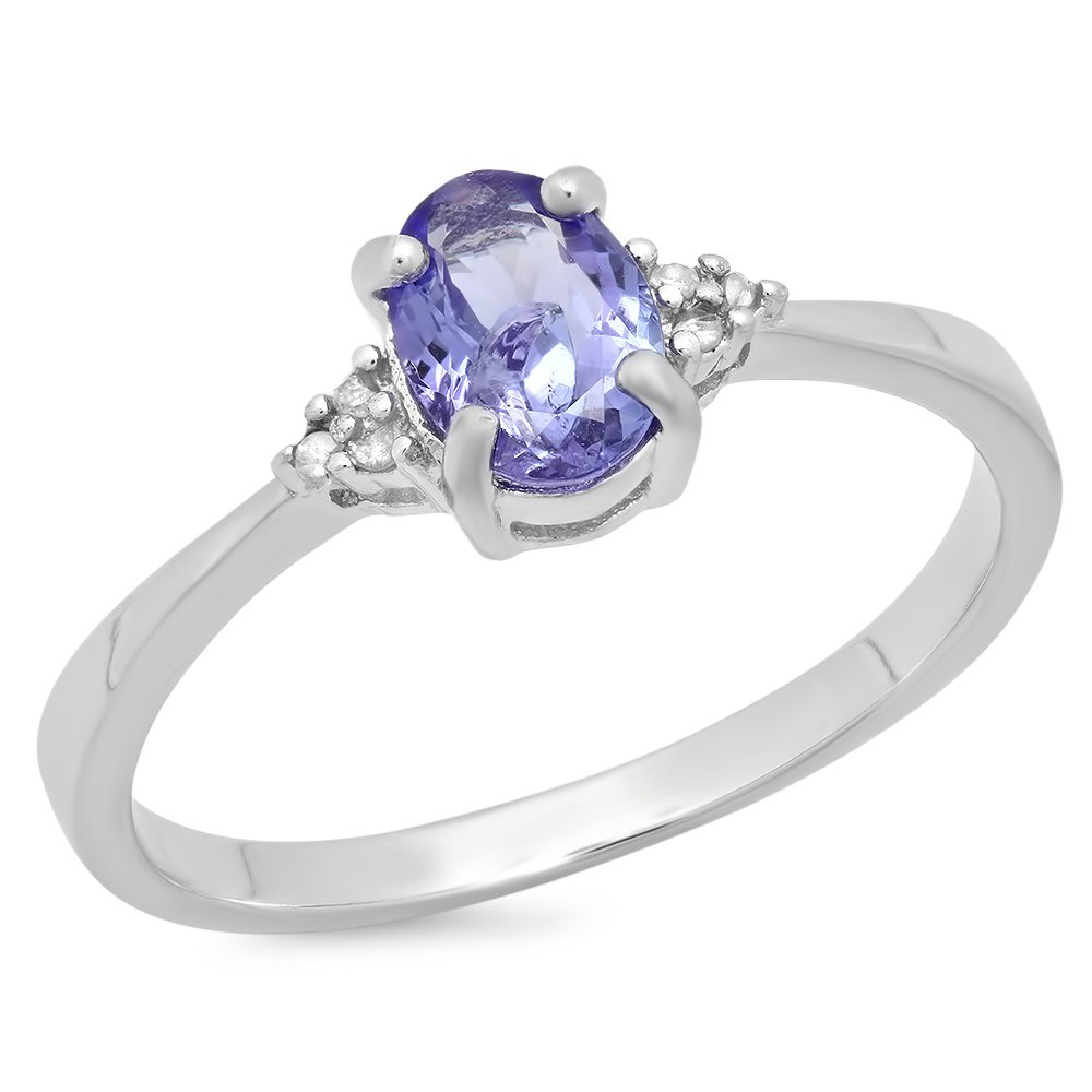 0.92 Carat (ctw) Sterling Silver Oval Tanzanite & Round Diamond Accents Bridal Promise Engagement Ring DazzlingRock RT116-T