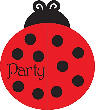 Amazon 25 Count Party Invitations Ladybug Fancy Kitchen Dining