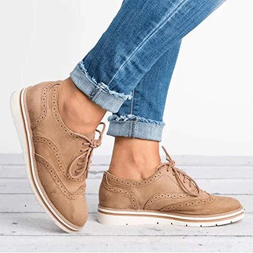 QinMM Zapatillas Gym Cordones Khaki Plano de Alpargatas Respirable Primavera para otoño Zapatos Deportes Mujer pwYwaBx6q