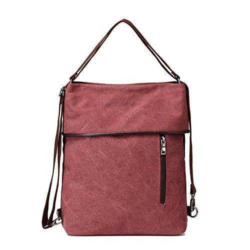MOLLYGAN Multi-purpose Canvas Shoulder Bag Backpack School Bag Khaki by MOLLYGAN (Image #8)