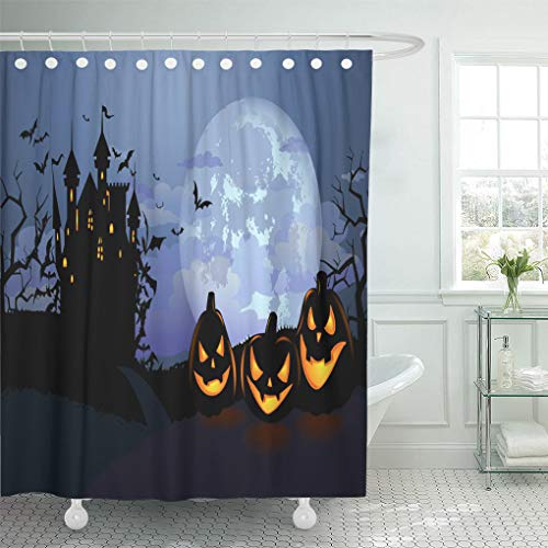 Ladble Waterproof Shower Curtain Curtains Halloween Scary Pumpkins Dracula Castle and Various Silhouettes of Flying Bats Against Full Moon 72
