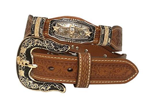 (West Star Revolver Design Buckle Belt Genuine Soft Leather Western Belt Buckle Rotate)