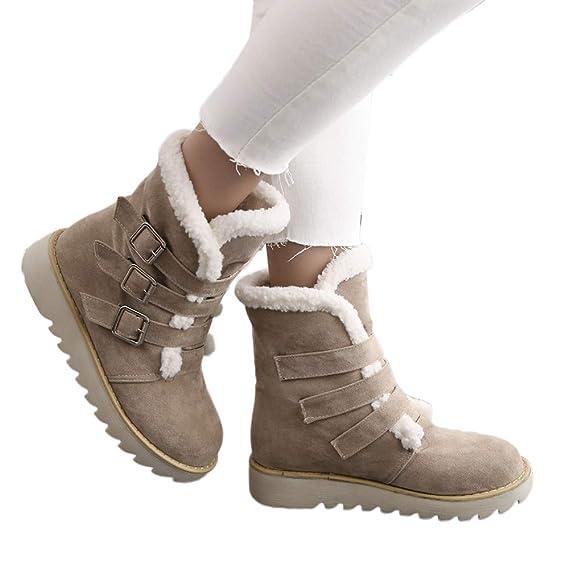 ZODOF Botas de Nieve niña Zapatos de Gamuza de Gamuza Redonda con Hebilla y Correa Plana Mantener el Tubo Corto cálido Botas para la Nieve: Amazon.es: Ropa ...