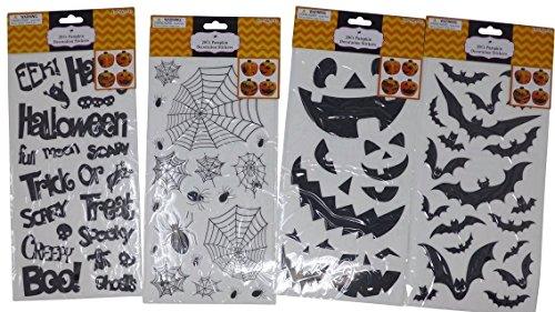 80 Halloween Pumpkin Decoration Stickers (4 Sheets)   Quality Halloween Pumpkin, Jack-O-Lantern, Spider, Web, Trick or Treat, Bat Designs - Party (Ideas For Halloween Pumpkin Decorating)