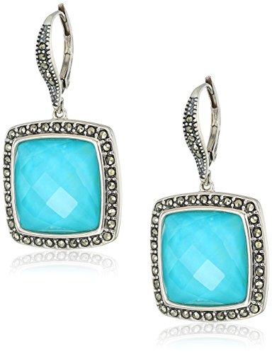 Judith Jack Sterling Silver/Swarovski Marcasite Turquoise Drop Earrings by Judith Jack