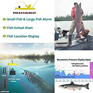LUCKY Fish Finder for Kayak, Depth Finder Range in 328FT by Wired Transducer Built-in Various Fishing Modes Options for Sea Fishing, Ice Fishing and Shore Fishing