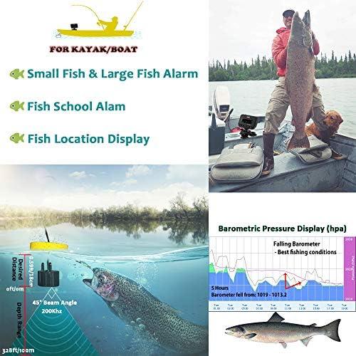 LUCKY Buscadores de peces para barcos Kayak Buscador de peces Port/átil de agua salada Buscador de profundidad de kayak Pesca Transductor con conexi/ón de cable con pantalla LCD