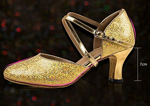 Missfiona: Scarpe Da Ballo Latino Da Donna Con Suola Morbida E Scintillante Con Punta Chiusa In Oro