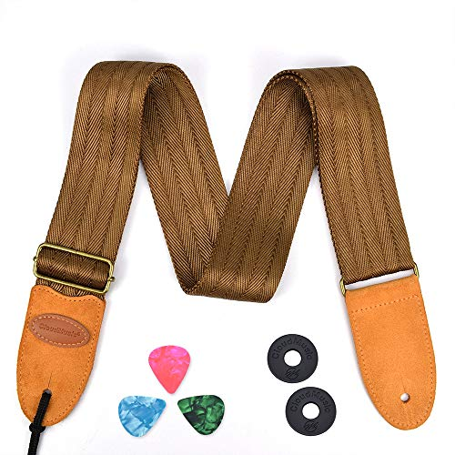 CLOUDMUSIC Guitar Strap For Acoustic Electric Bass Classic Seat Belt Cotton(Brown)