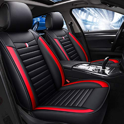 red and black seat covers leather - 4