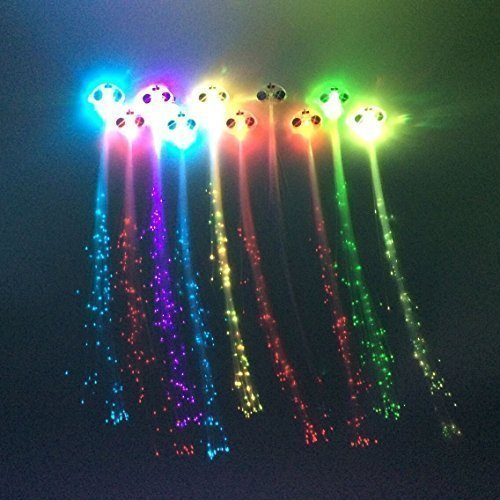 Z ZICOME 10 Pack Light Up Fiber Optic Led Hair Lights - Multicolor Flashing Barettes - Party Supplies -