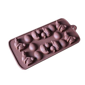 chige 14 Cavidad bandejas de Candy Mold, de silicona molde para hornear de pato conejo
