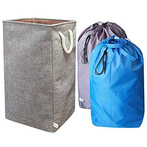 UniLiGis 25.6 inches Collapsible Large Laundry Hamper with 2 Detachable Laundry Bag,Foldable Dirty Clothes Hamper Organizer for Dorm Room,Cotton and Linen (Grey and 2 Bag)