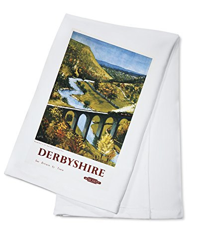 monsal-dale-train-and-viaduct-british-rail-poster-100-cotton-absorbent-kitchen-towel