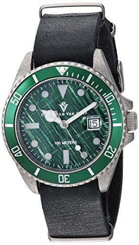 Christian Van Sant Men's 'Montego Vintage' Quartz Stainless Steel Casual Watch, Color:Black (Model: CV5202B)