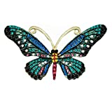 Mondora Prom Brooch Pin Animal Buttwefly Enamel Women's Austrian Crystal Gold-Tone Blue