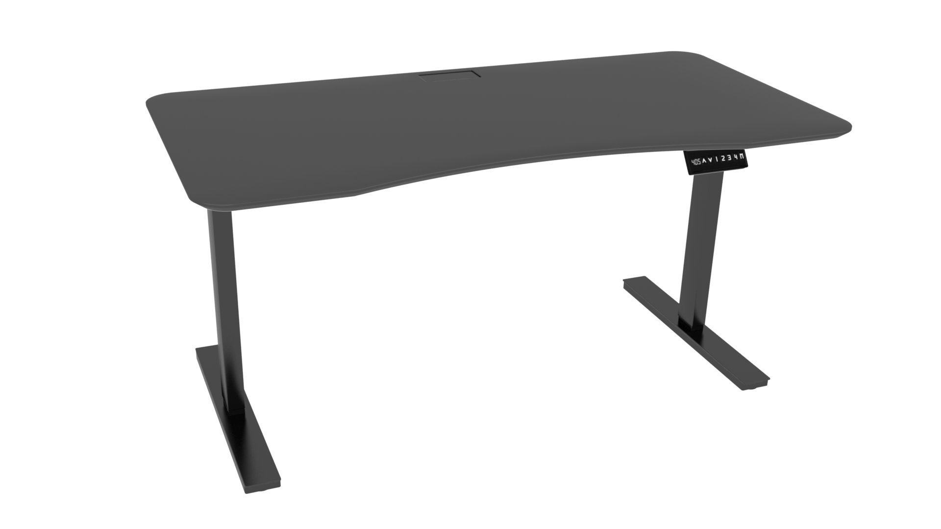 Ergo Elements Height Adjustable Electric Standing Desk with 60'' Top 4 Memory Buttons LED Display, Black with Black Top