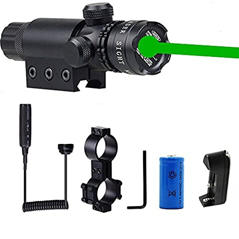 Green Dot Sight, Hunting Rifle Dot Scope Sight with Picatinny w/ Rail & Barrel Mount Cap Pressure Switch Battery Charger (Green Dot Laser For Gun)