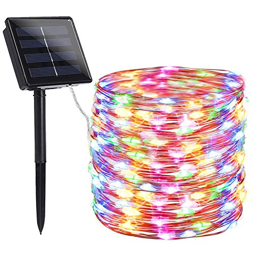 Toodour Solar String Lights 72ft 200 LED Solar Powered String Lights with 8 Lighting Modes, Waterproof Copper Wire Lights for Garden, Patio, Lawn, Landscape, Home Decor (Multi-Color) (String Solar Outdoor Lights Led)