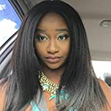 DLW Hair 100% Unprocessed Human Hair Lace Front Wig #1b Color Kinky 130% Density with Baby Hair (26 inch)