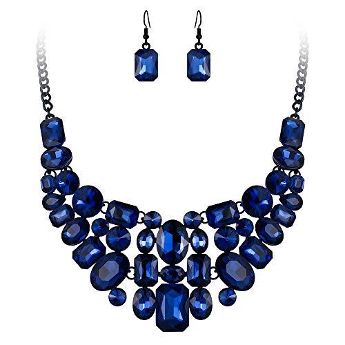 (Flyonce Women's Austrian Crystal Party Teardrop Cluster Bib Statement Necklace Earrings Set Blue Black-Tone)
