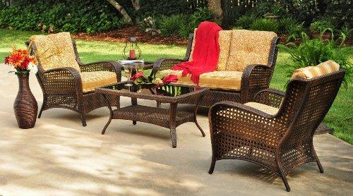 4pc Lanai Outdoor Wicker Resin Patio Sofa Seating Set Furniture