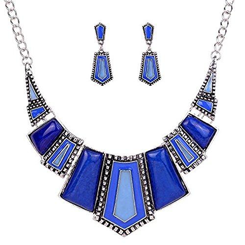 Ethnic Style Jewelry Sets,Vintage Ethnic Black Tibetan Silver Jewelry Irregular Rhinestone Bib Collar Earrings Necklace Set (Black Blue Jewelry)