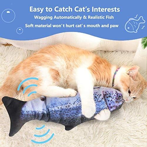 Juguete eléctrico para gato con diseño de pez que baila con sensor de movimiento 4