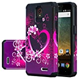 zte prelude silicone case - [GALAXY WIRELESS] for ZTE Maven 3 Case,ZTE Overture 3 Case,ZTE Prelude Plus Case [Impact Resistant] Silicone Hybrid Dual Layer Defender Protective Case Cover for ZTE Maven 3/Overture 3 Hot Pink Heart