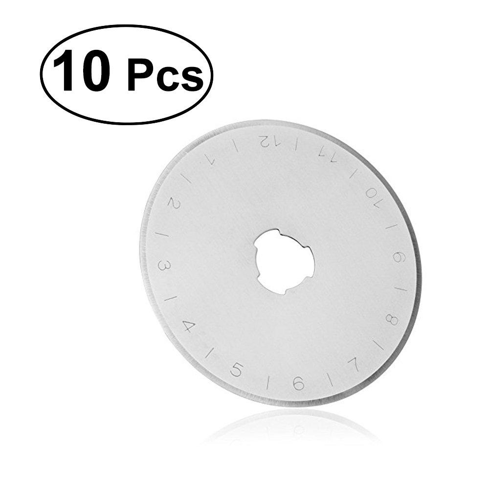SUPVOX Lame di ricambio rotative 45mm Lame di ricambio affilate Si adatta alla ricarica circolare Tessuto di cucito Rullo di carta in pelle Craft Acciaio Quilting Scrapbooking 10 PZ