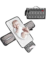 Lekebaby Portable Diaper Changing Pad Waterproof Change Mat Travel for Baby, Built-in Head Cushion, Grey