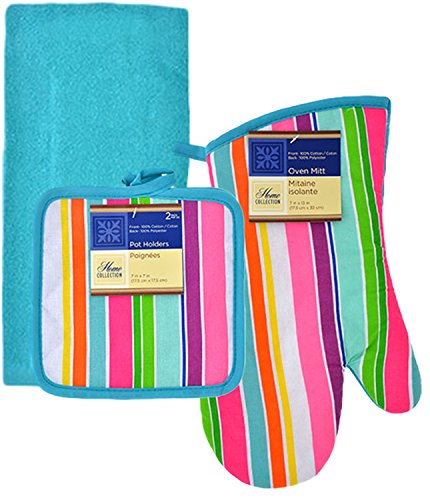 Spring Fling Kitchen Linen Set, 5 Pieces (Turquoise (Spring Fling Collection)