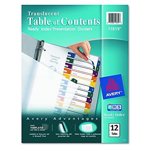 Avery  Ready Index  Translucent Table of Contents Dividers, 12-Tab Set (11819) (5 Translucent Divider Tab Color)