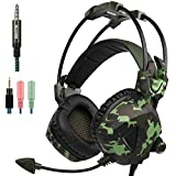 Gaming Headset for NEW Xbox One PS4 PC Laptop Mac Tablet Smartphone iPad iPod iPhone, Sades SA931 Stereo 3.5mm Headphone with Microphone In-line Volume Control by AFUNTA